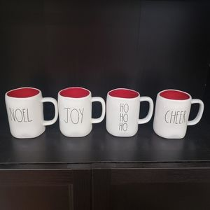 Rae Dunn Christmas mugs Cheer Joy HoHoHo Green